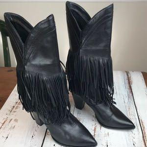 Zara Woman Fringe Black Leather Cowboy Boots